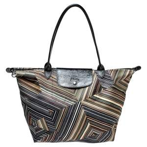 Longchamp Multicolor Nylon and Patent Leather Large Le Pliage Tote