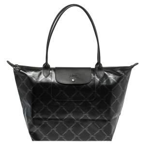 Longchamp Black Coated Canvas and Leather Le Pliage Tote