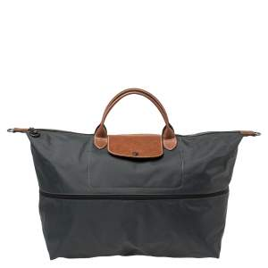 Longchamp Dark Grey/Brown Nylon Le Pliage Expandable Travel Bag