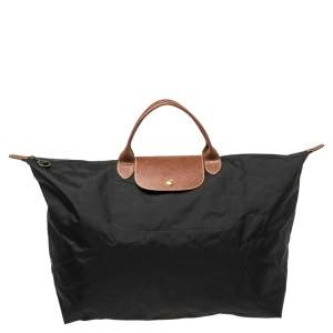 Longchamp Black Nylon Le Pliage Travel Tote