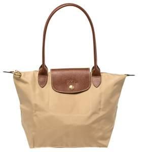 Longchamp Beige/Brown Nylon Mini Le Pliage Tote
