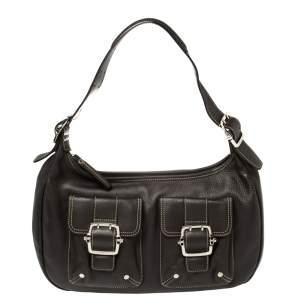 Longchamp Mocha Leather Buckle Pocket Hobo