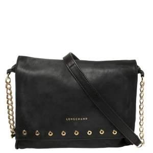 Longchamp Black Leather Eyelet Embellished Crossbody Bag