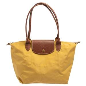 Longchamp Yellow Nylon and Leather Small Le Pliage Tote