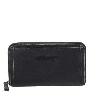 Longchamp Grey Leather Zip Around Wallet