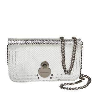 Longchamp Metallic Silver Python Effect Leather Cavalcade Wallet on Chain