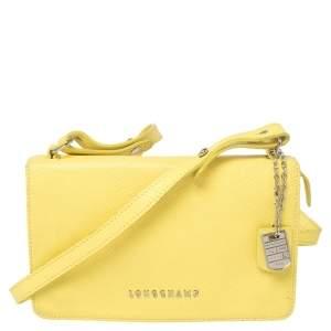 Longchamp Yellow Leather Flap Crossbody Bag