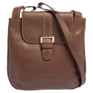 Longchamp Brown Leather Buckle Flap Sling Hobo