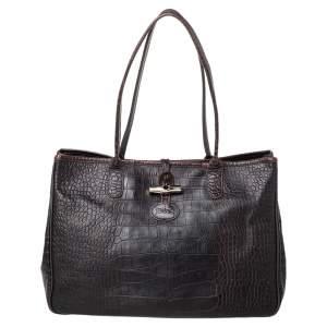 Longchamp Dark Brown Croc Embossed Leather Roseau Tote