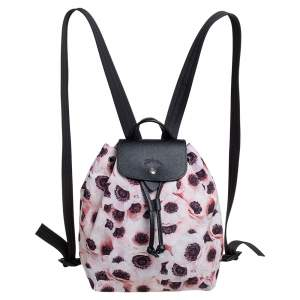 Longchamp Pink Anemone Print Nylon Le Pliage Backpack