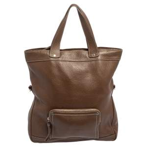 Longchamp Brown Grained Leather Convertible Tote