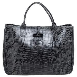 Longchamp Dark Grey Glaze Croc Embossed Leather Roseau Tote