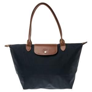 Longchamp Navy Blue Nylon and Leather Le Pliage Tote