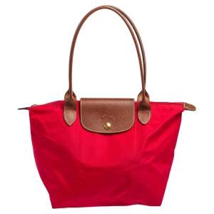 Longchamp Red Nylon and Leather Le Pliage Tote