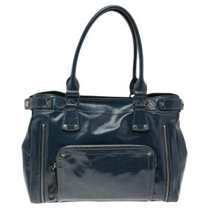 Longchamp Blue Patent Leather Tote