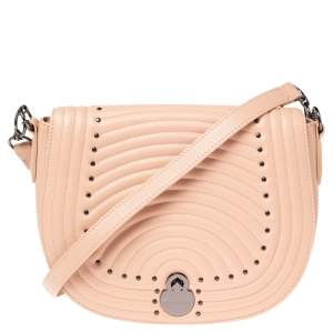 Longchamp Pink Leather Studded Flap Crossbody Bag