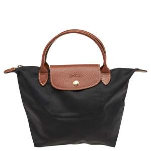 Longchamp Black/Brown Nylon And Leather Small Short Le Pliage Tote