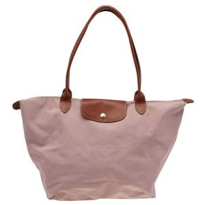 Longchamp Pink/Brown Nylon And Leather Le Pilage Tote