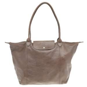 Longchamp Dark Brown Leather Le Pliage Travel Bag