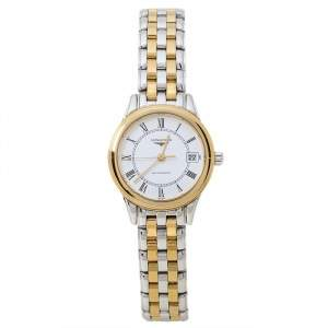 Longines White Two-Tone Stainless Steel Flagship L4.274.3 Women's Wristwatch 26 mm