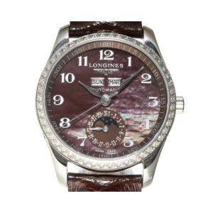 Longines Purple Diamonds Stainless Steel Master Collection L2.503.0 Women's Wristwatch 36 MM