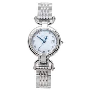 Longines Mother Of Pearl Stainless Steel Diamond Equestrian Collection L6.130.4.87.6 Women's Wristwatch 26.50 mm