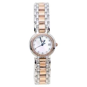 Longines Mother Of Pearl 18K Rose Gold Stainless Steel Diamond PrimaLuna L8.110.5.89.6 Women's Wristwatch 26.50 mm