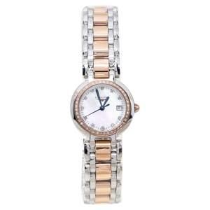 """ساعة يد نسائية لونجين """"بريمالونا أل8.110.5.78.6"""" ذهب وردي عيار 18 و ستانلس ستيل و ألماس و صدف 26.50 مم"""