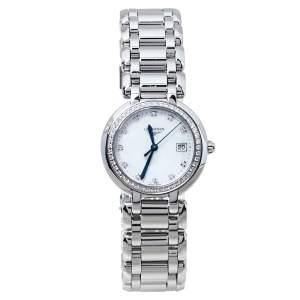 """ساعة يد نسائية لونجين """"بريما لونا أل8.112.0"""" ألماس و ستانلس ستيل و صدف مقاس 33 مم"""