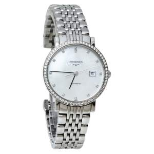 Longines White Stainless Steel & Diamond Elegant L4.310.0 Women's Wristwatch 29MM