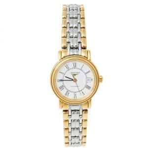 ساعة يد نسائية لونجين بريزينس L4.321.2.11.7 ستانلس ستيل لونين بيضاء 25.50 مم
