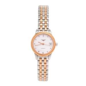 ساعة يد نسائية لونجين فلاجشيب أل4.274.3.99.7 ألماس ستانلس ستيل لونين أبيض 26 مم