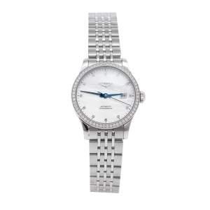 ساعة يد نسائية لونجين ريكورد L23210876 ستانلس ستيل ألماس صدف 30 مم