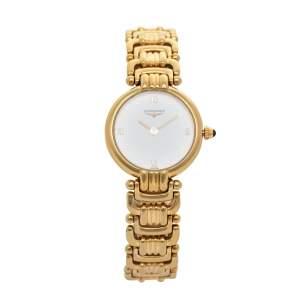 ساعة يد نسائية لونجين L62002 ستانلس ستيل مطلية ذهب أبيض 23 مم