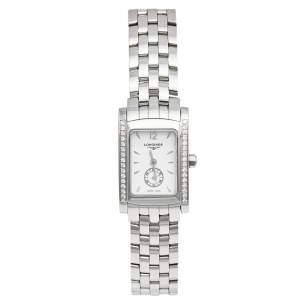 ساعة يد نسائية لونجين دولشي فيتا L5.155.0  ستانلس ستيل بيضاء 21 مم
