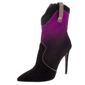 Loriblu Purple/Black Ombre Pony Hair High Heel Boots Size 41