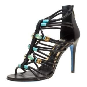 Loriblu Bijoux Black Leather Crystal Embellished Strappy Sandals Size 38