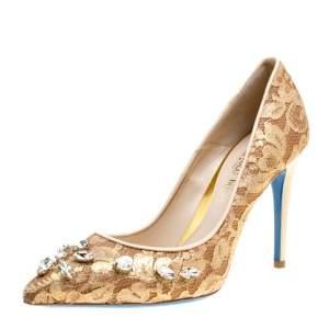 حذاء كعب عالي لوريبو مقدمة مدببة مزخرف كريستال دانتيل بيج جوهرة مقاس 39