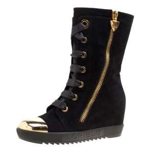 Loriblu Black Suede Metal Cap Toe Wedge Heel Calf Boots Size 36