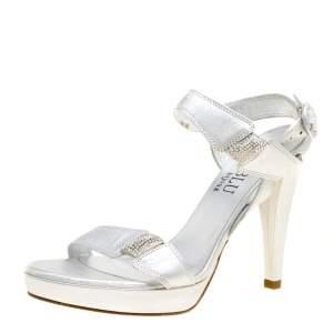 Loriblu Bijoux Metallic Silver Leather Crystal Embellished Platform Sandals Size 37