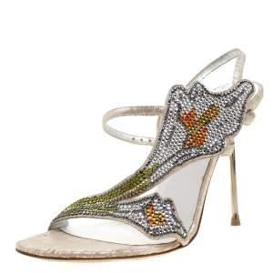 Loriblu Metallic Beige Suede Crystal Embellished Slingback Sandals Size 38