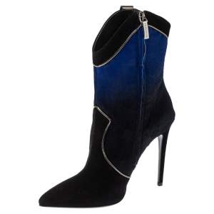 Loriblu Black/Blue Ombre Pony Hair High Heel Boots Size 40
