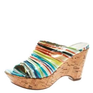 Loriblu Multicolor Patent Leather Wedge Sandals Size 38
