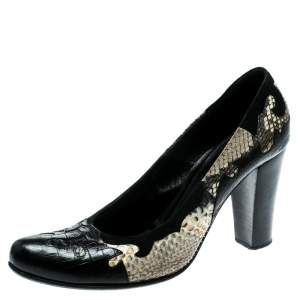 Loriblu Black/Beige Python Leather And Suede Trim Block Heel Pumps Size 40
