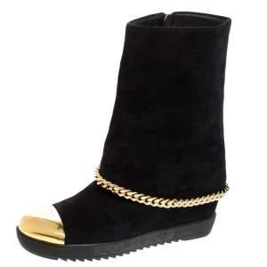 Loriblu Black Suede Metal Cap Toe Wedge Heel Calf Boots Size 41