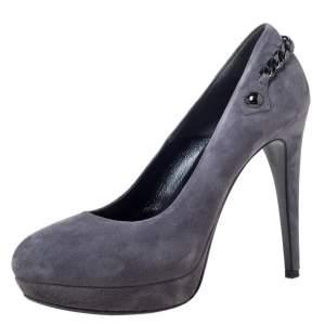 حذاء كعب عالي لوريبو نعل سميك سويدي رصاصي بسلسلة مقاس 39