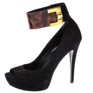 Loriblu Black Suede And Tortoise Patent Ankle Strap Turnlock Peep Toe Pumps Size 39