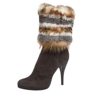 Loriblu Brown Suede And Multicolor Foldover Fur Pointed Toe Mid Calf Boots Size 38.5