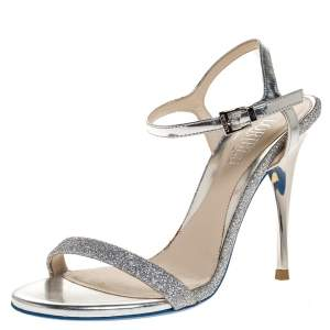 Loriblu Silver Leather And Glitter Ankle Strap Sandals Size 36