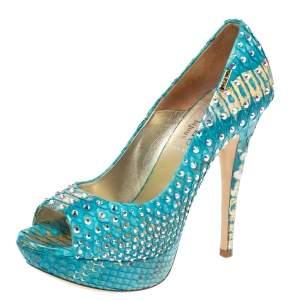 Loriblu Blue/Gold Python Embossed Leather Crystal Embellished Peep Toe Platform Pumps Size 36.5